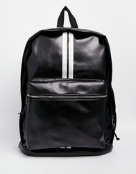 Asos Backpack In Black Faux Leather With Stripe Print