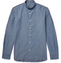 Caruso Grandad Collar Cotton Chambray Shirt Mid Denim