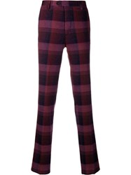 Missoni Checked Slim Fit Trousers Purple