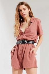 Urban Outfitters Uo Out About Linen Shirt Romper Brown