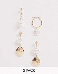 New Look 2 Pack Faux Pearl Mini Hoop And Disc Earrings In Gold Gold