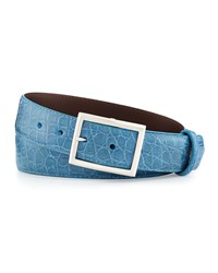 W.Kleinberg Glazed Alligator Belt With 'Simple Rec' Buckle Sky Blue Made To Order