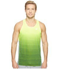 New Balance Accelerate Graphic Singlet Top Hi Lite Print Typhoon Men's Sleeveless Green