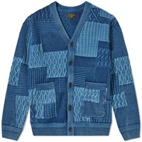 Beams Plus Cable Pattern Cardigan Blue