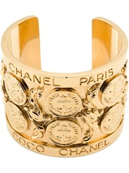 Chanel Vintage Logo Coin Cuff Metallic