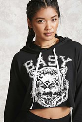Forever 21 Easy Tiger Cropped Hoodie Black White