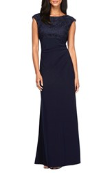 Alex Evenings Women's Draped Back Lace And Jersey Side Ruched Gown