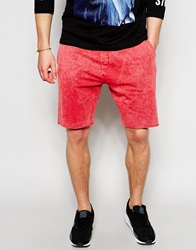 New Look Acid Wash Jersey Short Red