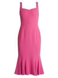 Dolce And Gabbana Sweetheart Neck Cady Midi Dress Pink