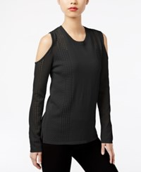 One A Open Knit Cold Shoulder Sweater Jet Black
