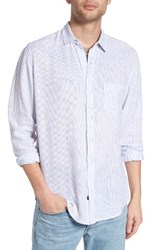 Rails Men's Connor Linen And Rayon Shirt White Royal Stripe