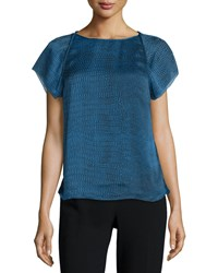 Halston Heritage Short Sleeve Draped Back Top Sky Blue Ombre