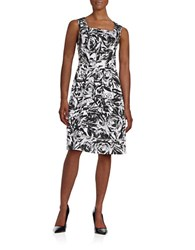 Ellen Tracy Floral Fit And Flare Dress Black Ivory