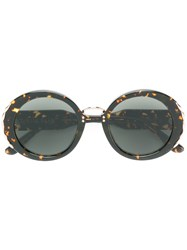 Elie Saab Metal Embellished Round Sunglasses Black