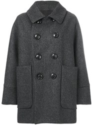 Dsquared2 Double Breasted Peacoat Women Virgin Wool Cashmere Polyamide Polyester 40 Grey