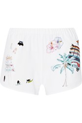 Finds Printed Stretch Crepe Shorts White