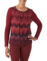 Olsen Wave Print Cotton Long Sleeve Tee Red Cassis
