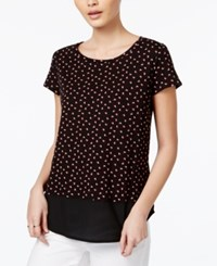 Maison Jules Polka Dot Print Contrast Top Only At Macy's Black Combo