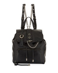 Badgley Mischka Beulah Leather Drawstring Backpack Black