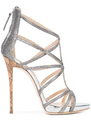 Giuseppe Zanotti Design Snake Effect Cut Out Sandals Metallic