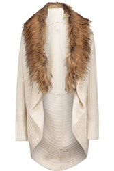 Joie Helma Faux Fur Embellished Wool And Yak Blend Cardigan Cream
