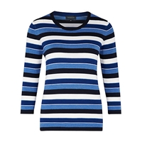 Viyella Merino Striped Jumper Navy