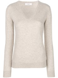 Pringle Of Scotland V Neck Fitted Sweater Nude And Neutrals