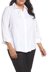 Foxcroft Plus Size Women's Ellen Solid Stretch Cotton Top White