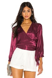 1.State Wrap Front Blouse Wine