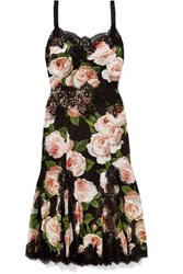 Dolce And Gabbana Lace Trimmed Floral Print Silk Blend Satin Dress Black