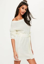Missguided Cream Off Shoulder Belted Jumper Dress