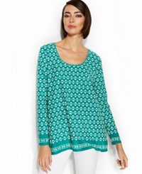 Studio M Patterned Scoop Neck Knit Top Green White