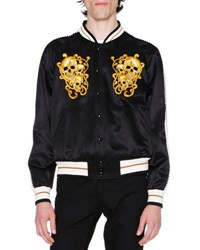 Alexander Mcqueen Embroidered Skulls Silk Varsity Jacket Black