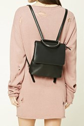 Forever 21 Faux Leather Mini Backpack Black