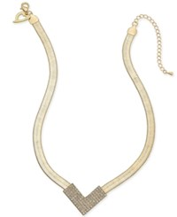 Thalia Sodi Gold Tone Pave Crystal V Collar Necklace Only At Macy's