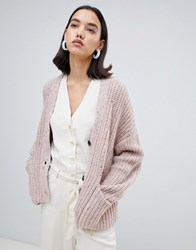 Selected Femme Chunky Knit Cardigan Pink