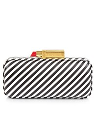 Lulu Guinness Black And White Stripe Carrie Clutch Striped