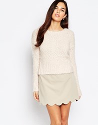 Ax Paris Sweater In Mix Knit Pink Cream