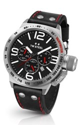 Tw Steel Men's Canteen Chronograph Leather Strap Watch 50Mm Black Silver
