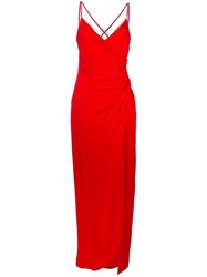 Versace Crisscross Strap Evening Dress Red