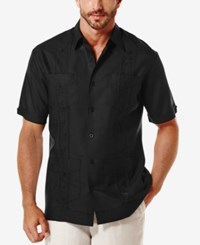 Cubavera Short Sleeve Embroidered Guayabera Shirt Jet Black