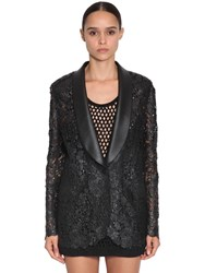 Ermanno Scervino Waxed Lace And Faux Leather Blazer Black