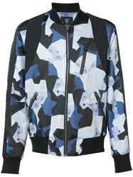 Christopher Raeburn Geometric Bomber Jacket Men Acetate M Blue