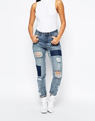 Missguided High Rise Patched Ripped Slim Jean Blue