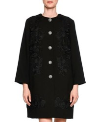 Dolce And Gabbana Lace Trim Wool Coat Topper Black
