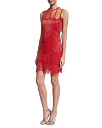 Naeem Khan Beaded Fringe Sleeveless Cocktail Dress Red
