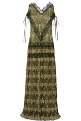Wes Gordon Embroidered Lace Gown Black