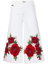 Philipp Plein Embroidered And Studded Cropped Flare Jeans Cotton Polyester Spandex Elastane White