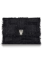 Proenza Schouler The Lunch Bag Large Leather Paneled Tweed Clutch