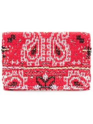 Coohem Knit Tweed Bandana Cardholder Cotton Calf Leather Polyester Red